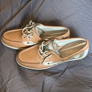 Sperry top sider boat shoes 9.5, classic linen oat
